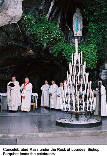 Concelebrated Mass under the Rock at Lourdes, Bishop Farquher leads the celebrants